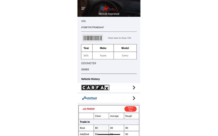 Provides used car dealers with CARFAX vehicle history data to accurately appraise vehicles. - IMAGE: CarDr.com