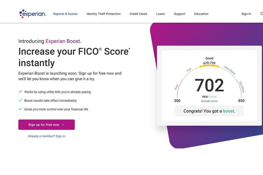 Experian Boost will allow consumers to add new data to their Experian credit reports, instantly...