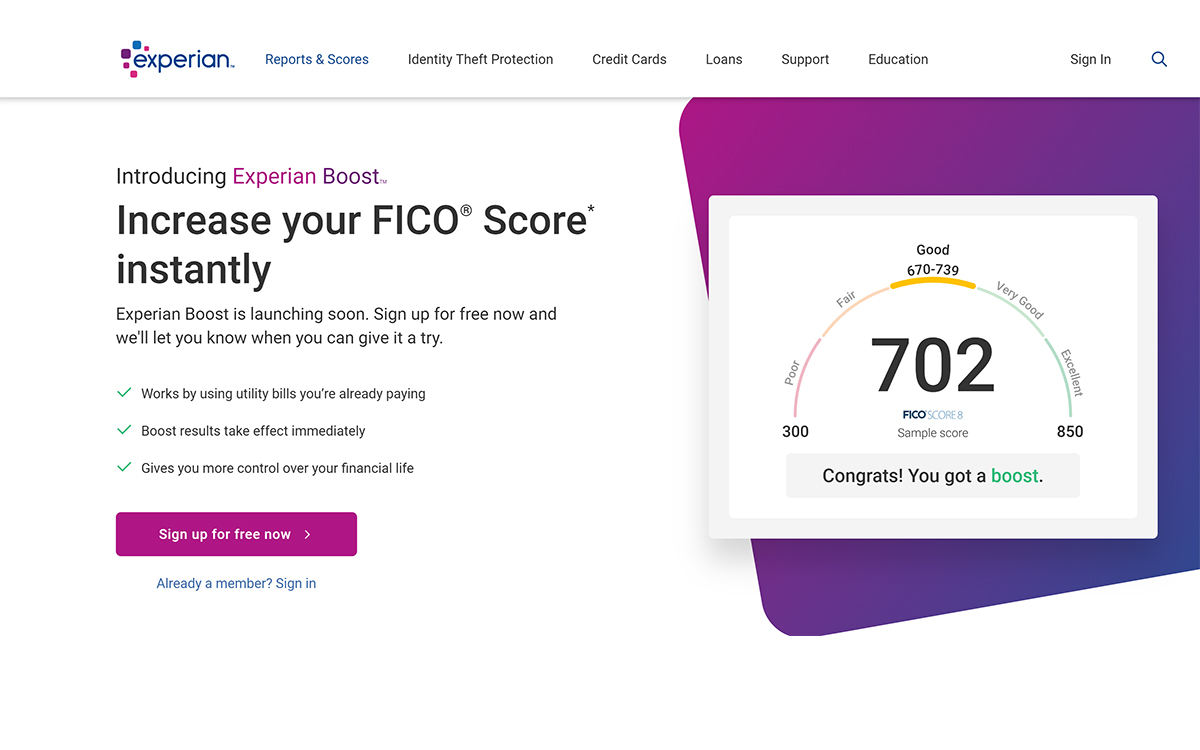 Experian Offers Instant Credit Score Improvement