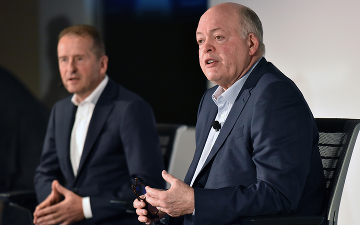 Volkswagen AG CEO Dr. Herbert Diess (left) and Ford Motor Co. President and CEO Jim Hackett announced the factories' new joint technology ventures at a press conference in New York Thursday. 