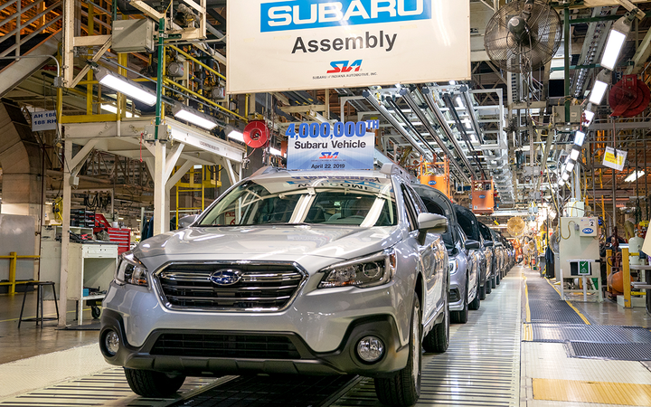 Subaru scored two percentage points higher than any other marque in J.D. Power's inaugural U.S. Automotive Brand Loyalty Study. In April, the Japanese manufacturer's Lafayette, Ind., plant produced its 4 millionth vehicle for the North American market.   - Photo courtesy Subaru of America Inc.