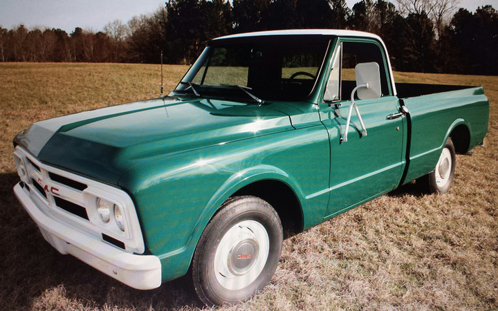 This is one of three GMC pickups Presley bought for his Mississippi ranch in 1967. 
