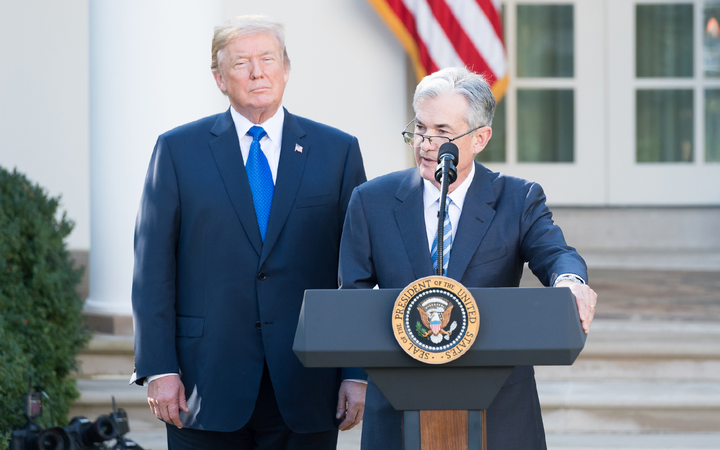 Jerome Powell, seen here with President Donald Trump upon the 2017 announcement of his nomination as Fed chair, has faced pressure from Trump and others to reverse course on planned interest-rate hikes. 