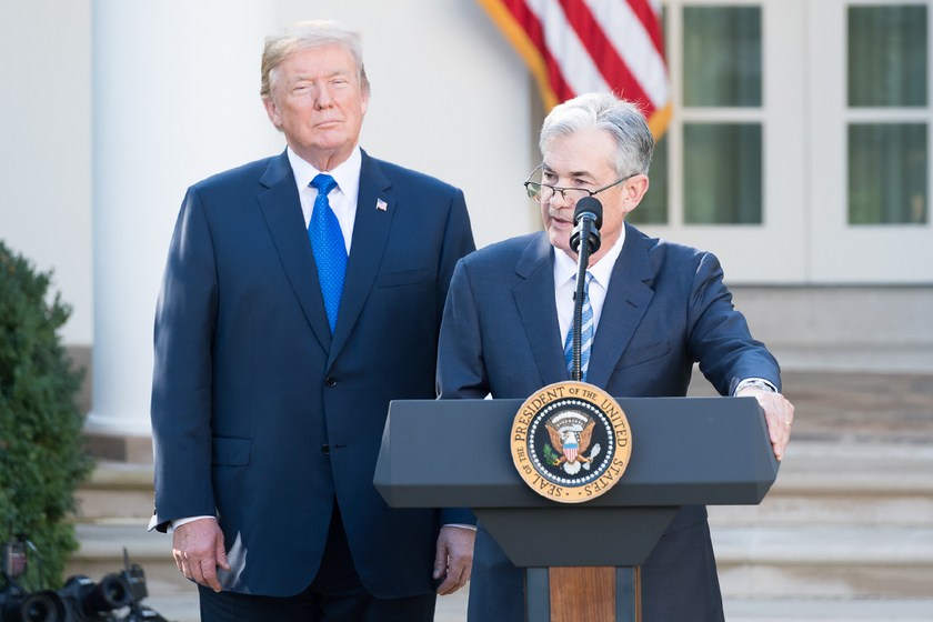 Jerome Powell, seen here with President Donald Trump upon the 2017 announcement of his...