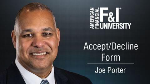 American Financial F&I University's Tip of the Month, with Joe Porter.
