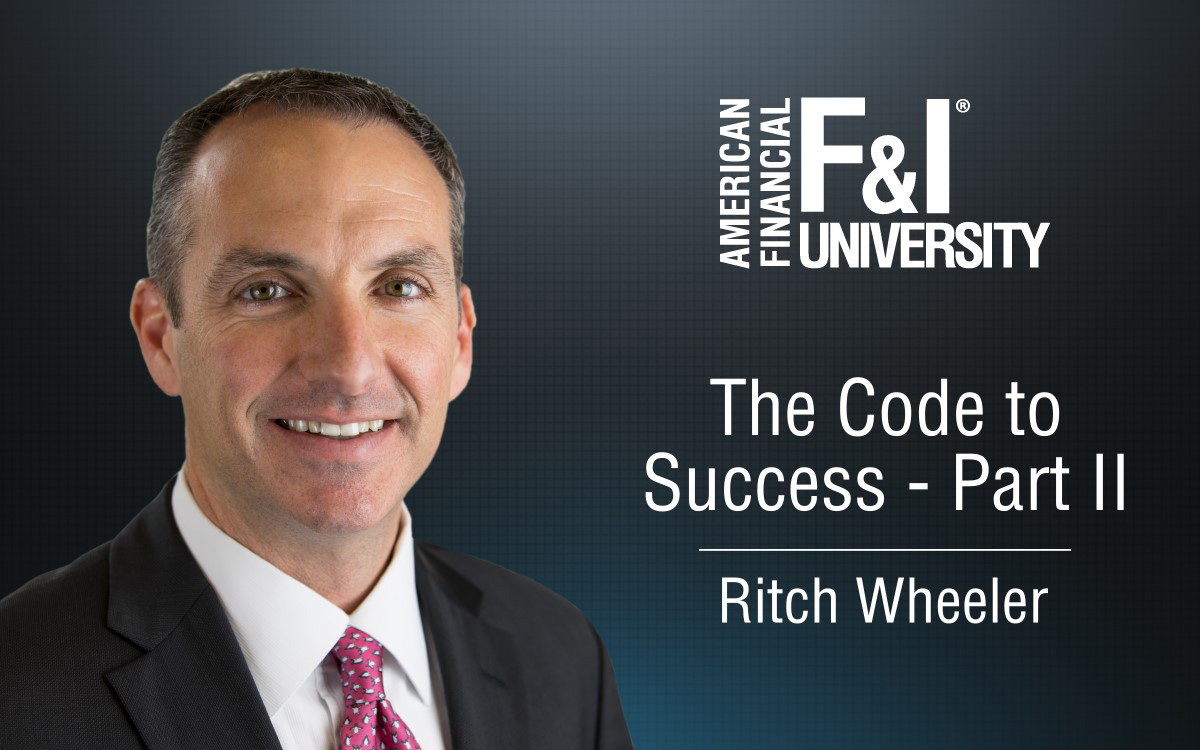 F&I Tip of the Week: The Code to Success