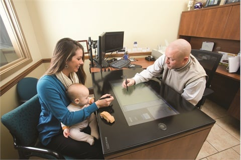 The docuPAD includes a 45-inch tabletop display screen with space-age glass and integrated speakers that can be set up on any desk or flat surface.