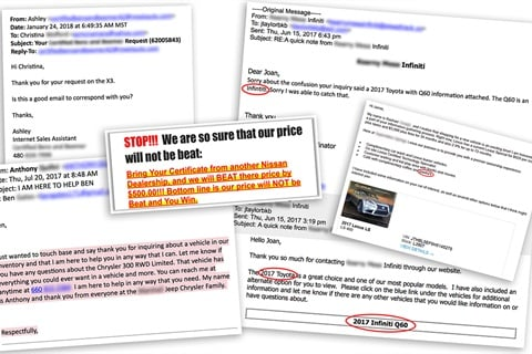 Digital Air Strike's most recent mystery-shopping campaign generated a discouraging collection of unanswered questions, unaccountable misspellings, and ad copy unrelated to the inquiry. Photos courtesy Digital Air Strike