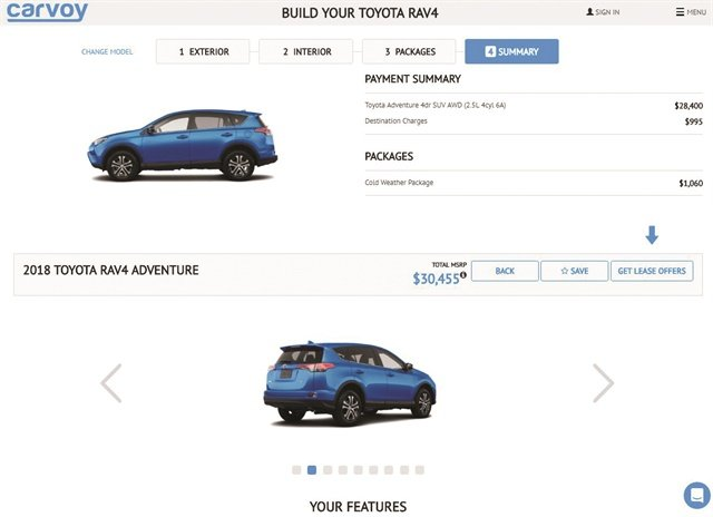 Pictured is a screenshot of Carvoy's broker site, which the startup launched in New York in May 2016. In February, the company rolled out Carvoy Ignite, a Software as a Service platform dealers can deploy on their websites to transform them into car-buying portals.