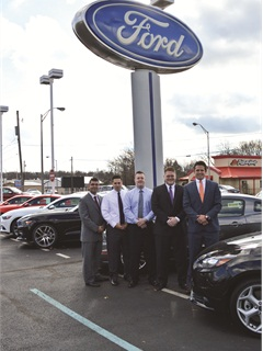 Faulkner-Ciocca Ford is part of the nine-store Faulkner-Ciocca family of dealerships. It retails about 1,200 new vehicles a year and is No. 1 in Ford F-150 and Mustang sales in its region. Pictured are members of the dealership's sales and F&I teams, including (l-r) General Manager Agyhad Antonios, F&I Managers Luke Freitas, Pete Dobrowolski and Jeff Rowe, and Finance Director Kyle Egge.