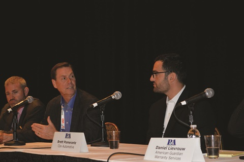 The Impact Group's Mark Thorpe explains his concerns about the online F&I push to Cox Automotive's Brett Pomerantz during the P&A Leadership's 'Presenting F&I Products Online.'