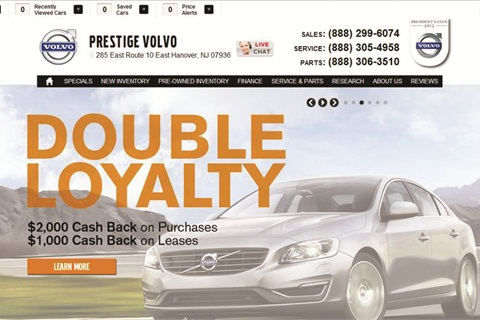 Visitors of Prestige Volvo's website don't have to look hard to find special offers, service coupons and new model introductions. The dealership's phone number and address also appear prominently on the home page.