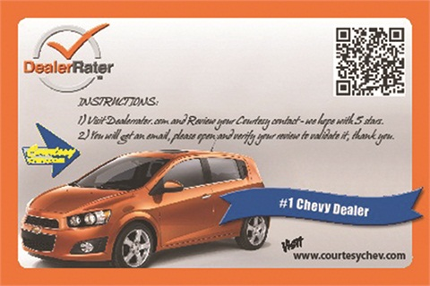 DealerRater provides its certified dealers with postcard reminders to help them collect reviews from customers. Courtesy Chevrolet uses this strategy on all review sites.