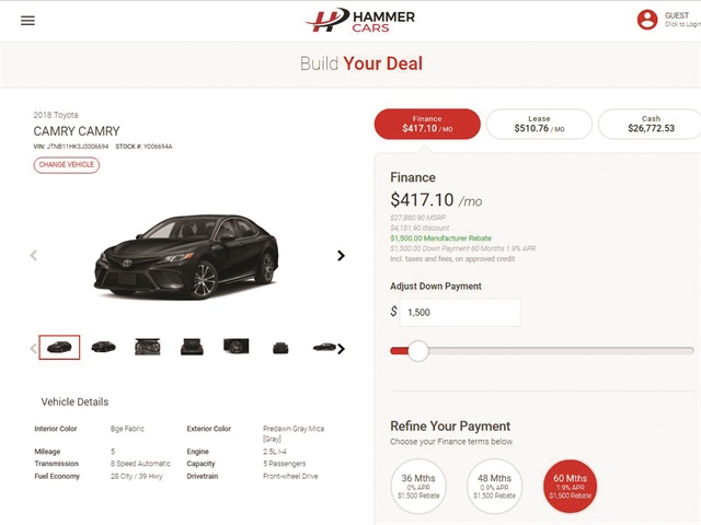 Pictured is a screenshot of ELEAD1ONE's new digital retailing platform, which the CRM provider debuted at NADA 2018. Company executive Bill Wittenmyer said the tool is currently installed at Florida's Wesley Chapel Lexus, the first new Lexus point awarded in 12 years.