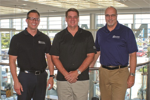 GM Aaron Hill (left), Dealer Principle Raymy Reed (center) and Partner Paul McNamara (right) drive impressive F&I profit by focusing on process.