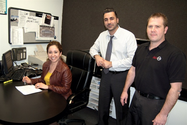 Buena Park Nissan's finance team, which includes (L–R) F&I managers Liz De Avila and Keith Iqbal and finance director David Reynolds, boasts a service-contract penetration rate of 70 percent.