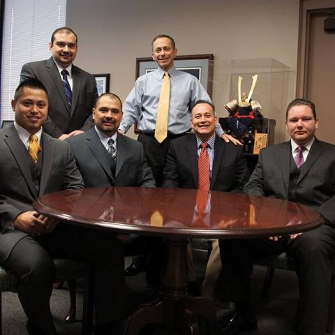 Hoy Fox Toyota Finance Director Victor Martin Del Campo poses with Dealer Principal Steve Fox and Finance Managers Ozzy Herrera, Larry Salcedo, Julio Cervantes (Hoy Fox Lexus) and Matthew McCoey.