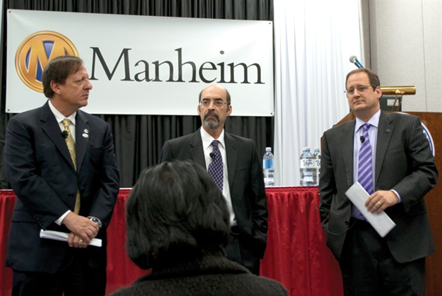 Manheim's trio of (L-R) Sandy Schwartz, Tom Webb and Joe George was on hand to deliver Webb's annual used-car report and demonstrate several new, web-oriented auction tools.