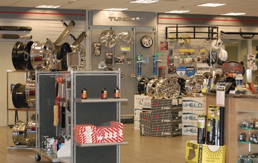 The dealership's accessories department stocks aftermarket equipment for a number of Toyota models.