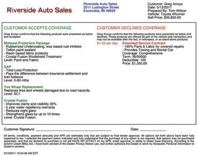 """Riverside Auto Group presents this """"Accept/Decline"""" form to each customer to confirm the F&I products he or she has selected or declined to purchase."""