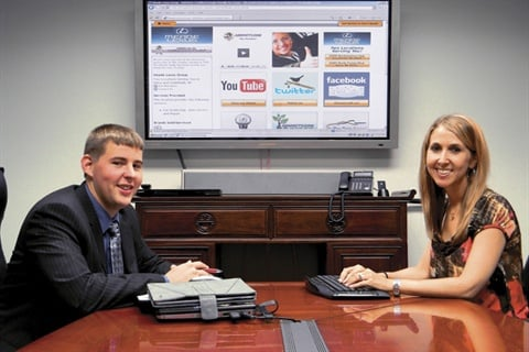 Dan Kilian and Kristina Reid of Meade Lexus in Southfield, Mich., are using social media to raise the dealership's online profile. But they also have taken steps to remain compliant, adding links to any required disclosure statements.