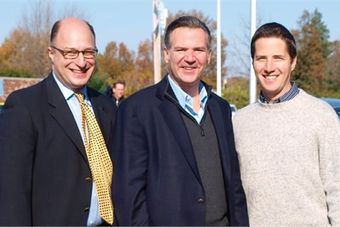 "Jim Levine (left), the dealership's GM, worked with Tim Colbeck, president and COO of Saab Cars North America, and Bernie Moreno, founder of Collection Auto Group, to create the ""Snap up a Saab"" contest. The goal of the campaign was to help the 30-vehicle-a-month store sell 100 vehicles in four weeks. Vehicle orders were already streaming in after the first week of the contest."