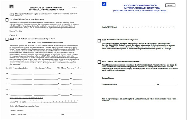 Pictured to the left is GM's original disclosure form, which was released on Aug. 10. Based on dealer feedback, the automaker released a significantly paired down version of the form on Aug. 24. The form must be presented and signed by the customer. Dealers must keep a copy of the form in the customer's file, along with copies of the purchase order and/or bill of sale.