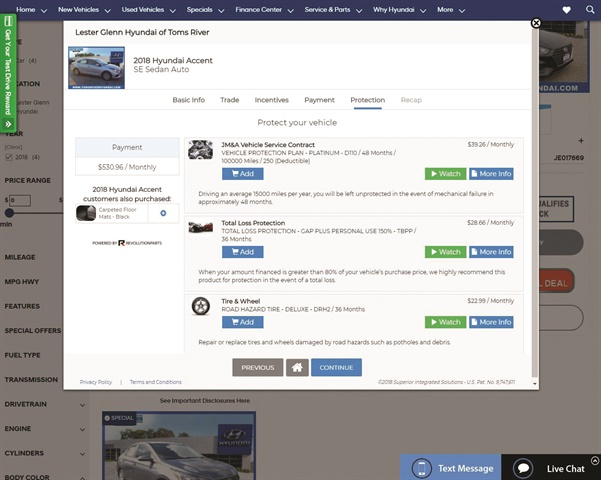 The Darwin Online process begins with a needs-discovery interview. Buyers can then appraise their trade, select incentives, and structure their deal. The platform then prescribes F&I protections based on their answers to the interview questions, deal information and other details stored in the DMS. The process ends with a deal recap page, where buyers can reserve their vehicle.