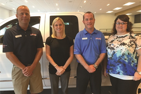 Pictured are members of Kelley Automotive Group's F&I team, including Jeff Johnson  (left), F&I Director Stephanie Hartman, Bruce Patterson and Amanda Elam (right).