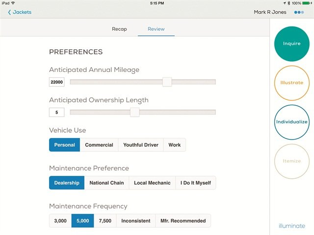 Illuminate can match service-contract terms to how customers respond to questions about their driving habits.