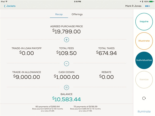 Illuminate's Recap screen reviews the deal customers agreed to in sales before displaying the F&I menu.