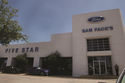 The Sam Pack organization operates four Ford stores, including the Lewisville location, a Chevrolet point, and a soon-to-be-opened Subaru store in the sprawling Dallas-Fort Worth metro area. The Lewisville location is the No. 43 Ford retail outlet in the nation in terms of sales volume.