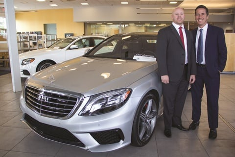 Pictured with his corporate F&I director, Ian Vandenbark, Bernie Moreno (right) serves as president of Bernie Moreno Companies. Over a 10-year span, he grew his operation from one store — a Mercedes-Benz dealership in North Olmsted, Ohio — to 15 rooftops representing the Aston Martin, Acura, Infiniti, Maserati, Mercedes-Benz, Mini, Nissan, Porsche, Rolls-Royce, and Volkswagen brands.