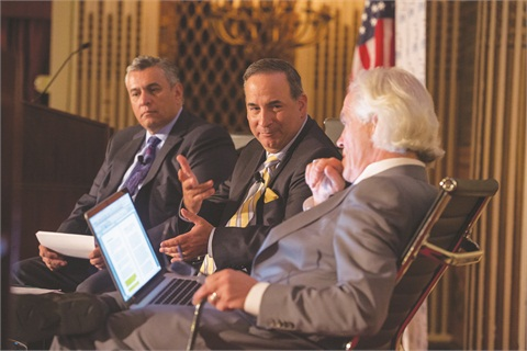"The 2015 Vehicle Finance Conference featured a general session on ""Regulatory and Legal Uncertainties."" Moderated by Bill Himpler (center), executive vice president of the American Financial Services Association, the panel included Dan Soto (left), chief compliance officer for Ally Financial, and Mark Kenney, chairman of Severson & Werson."