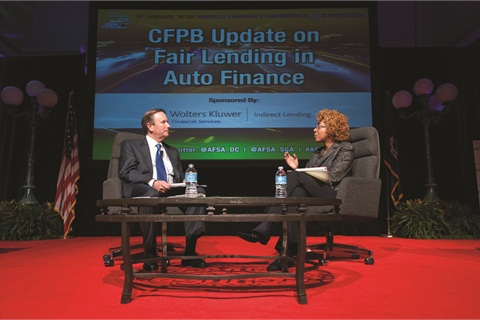While at the CFPB, Rick Hackett worked closely with bureau official Patrice Ficklin, seen here at the 2014 Vehicle Finance Conference, to develop both perspective and strategy for how to approach the auto finance industry.