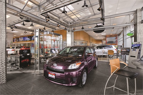 Pictured is the showroom of Salt Lake City's Mark Miller Toyota Scion. The dealership began econtracting with Toyota Financial Services the same day the captive rolled out its RouteOne-driven system nationally in January 2013. Quicker funding was the immediate benefit of the system.