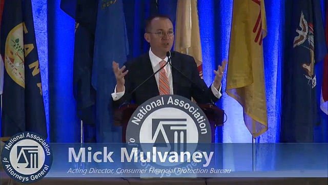 Acting CFPB Director Mick Mulvaney was a featured speaker at the National Association of Attorneys General's 2018 Winter Meeting in Washington, D.C., this past February. During his address, he said the bureau would be looking to state regulators and attorneys general for leadership when it comes to enforcement.