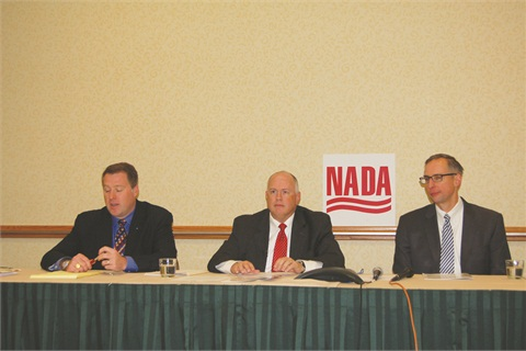 At the 2014 NADA Convention & Expo, Andrew Koblez (center), joined by his colleague Paul Metrey (right), unveiled the the association's Fair Credit Compliance Policy & Program. It's designed to address the CFPB's concerns regarding fair credit while preserving the availability of rate discounts for consumers.