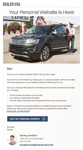 ChannelNet's OneClick Loyalty app is a marketing communications platform. At the dealership, salespeople use the app to take photos of buyers in front of their vehicles. The platform immediately triggers a welcome email that drives customers to their very own personal website, which they can use to access dealership services and manage their auto loan, among other things. The dealership can then communicate service and sales specials through the personal website.