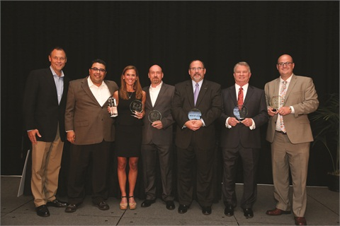 Posing with Jane Vaden Thacher at Industry Summit 2014 is The Warranty Group's Ash Bauer, F&I and Showroom's Gregory Arroyo, and representatives from this year's F&I Pacesetters, including Liberty GMC's Dusty Mandrell, Bob Moore Auto Group's Curtis Hayes, Five Star Ford's MM Ross, and McCaddon Cadillac Buick GMC's Justin Gasman.