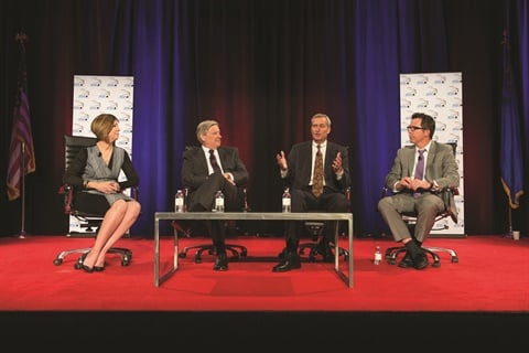 The Vehicle Finance Conference's CEO panel featured (l-r) Wells Fargo's Dawn Martin Harp, U.S. Bank's John Hyatt, American Honda Finance Corp.'s David Paul, and Westlake Financial Services' Ian Anderson.