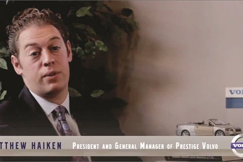 """Meet Matthew Haiken our GM"" is one of the selections under the ""About"" tab in the main navigation bar of Prestige Volvo's website. Customers who click in will find a video interview with Haiken, who provides a brief history on the dealership. He also explains how his store works to turn the negative connotations associated with car buying upside down."