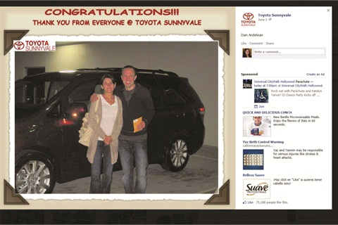 Toyota Sunnyvale posts pictures of satisfied customers to its Facebook page.