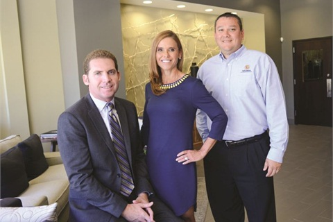 Pictured with Jane Vaden Thacher are CEO West Beaver and Sales Director Jeremy Jimenez. Hired the same year Thacher returned to the dealer group in 1994, Beaver says Thacher's greatest quality as a leader is her ability to empower her people to drive the business forward.