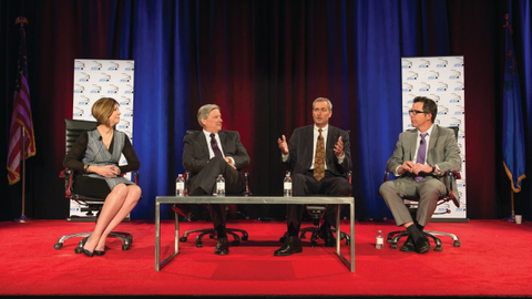 The Vehicle Finance Conference's CEO panel featured (l-r) Wells Fargo's Dawn Martin Harp, U.S....