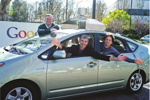 'Da Man' admits the Google Car experiment has him concerned. Pictured above is Google's executive team, including Eric Schmidt, executive chairman, Larry Page, CEO, and Sergey Brin, co-founder.
