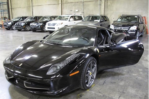 Federal customs agents recovered a stolen 2010 Ferrari 458 Italia at Los Angeles' port. Photo: USCBP