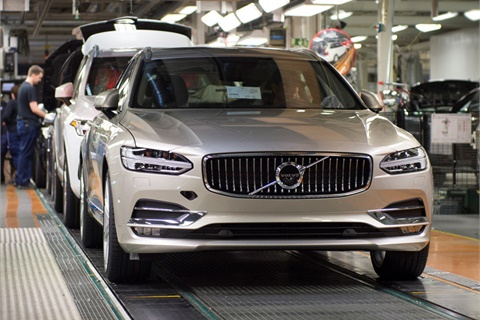 A 2017 V90 wagon rolls off Volvo's Gothenburg, Sweden, assembly line.Photo courtesy Volvo Car USA LLC