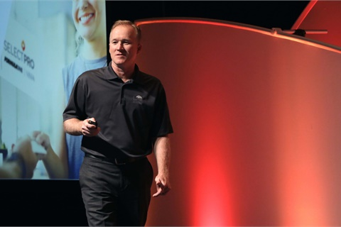Eastman's Darrell Reed announced the launch of an aggressive new consumer campaign at the company's 2017 Elite Dealer Conference in Austin, Texas. Photo courtesy Eastman Chemical Co.