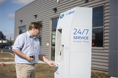 The Panasonic/GoMoto-designed Smart Service Kiosk allows customers to request service, drop off their key, pay their bill, and retrieve their key, 24 hours a day. Photo courtesy Ford Motor Co.